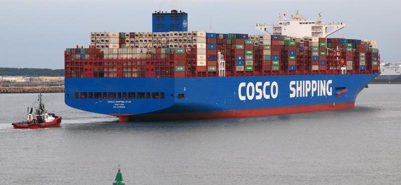 Maiden call of Cosco Shipping Star in port of Zeebrugge