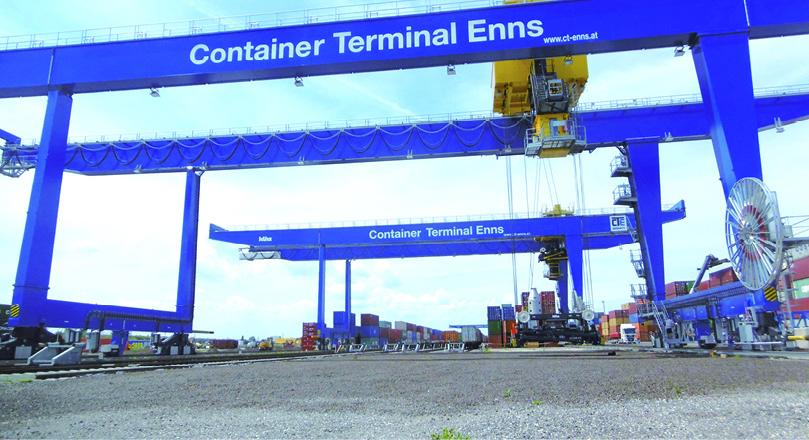 Container Terminal Enns wächst  auf 500.000 TEU Jahreskapazität
