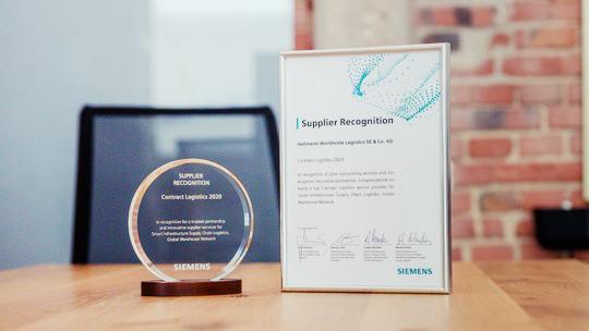 Siemens-Auszeichnung für Kontraktlogistik von Hellmann